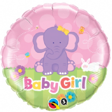 "Baby Girl Elephant Foil Balloon (18"") 1pc"